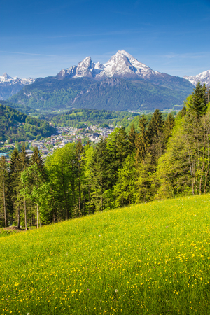 Scenic view of idyllic mountain scenery with famous Watzmann mountain peak and blooming meadows on a beautiful sunny day with blue sky in springtime, Berchtesgaden, Germany Stockfoto