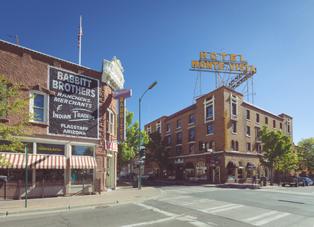 Beautiful view of the historic city center of Flagstaff with famous Hotel Monte Vista on sunny day with blue sky in summer, northern Arizona, American Southwest, USA