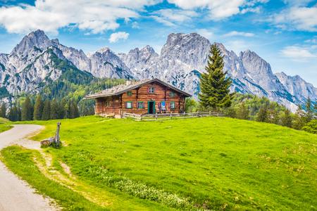 Vista panorâmica da paisagem montanhosa idílica nos Alpes com tradicional chalé de montanha e pastagens de montanha verde fresco com flores desabrochando em um dia ensolarado com céu azul e nuvens no verão Foto de archivo