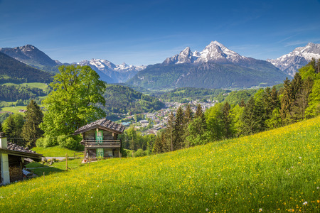 Panoramic view of idyllic mountain scenery in the Alps with traditional old wooden mountain chalet and fresh green blooming meadows on a beautiful sunny day with blue sky in springtime Banque d'images