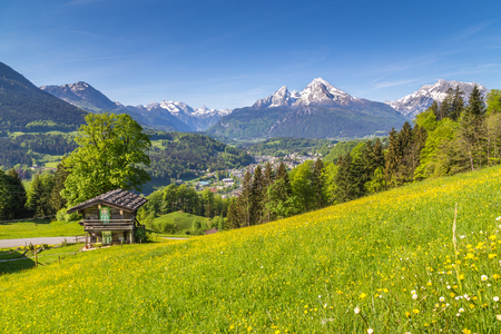 Scenic view of idyllic mountain scenery in the Alps with traditional mountain chalet and fresh green mountain pastures with blooming flowers on a sunny day with blue sky and clouds in summer 스톡 콘텐츠