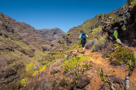 夏の青い空と雲と風光明媚な日に牧歌的なエキゾチックな風景のトレイル上の男性観光客のハイキングの美しいパノラマビュー, カナリア諸島, スペ