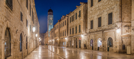 Classic panoramic view of famous Stradun, the main street of the old town of Dubrovnik, in beautiful morning twilight before sunrise at dawn, Dalmatia, Croatia