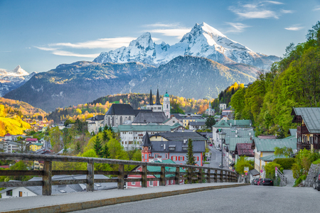 Beautiful view of the historic town of Berchtesgaden with famous Watzmann mountain at sunset in springtime, Berchtesgadener Land, Upper Bavaria, Germany
