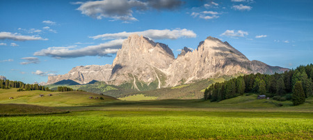Beautiful view of idyllic alpine mountain scenery with with famous Langkofel mountain summit on a sunny day with blue sky and clouds in springtime, Alpe di Siusi, South Tyrol, Italy Stockfoto