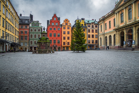 Classic view of colorful houses at famous Stortorget town square with Christmas Tree in Stockholms historic Gamla Stan (Old Town) on a moody cloudy day in winter, central Stockholm, Sweden