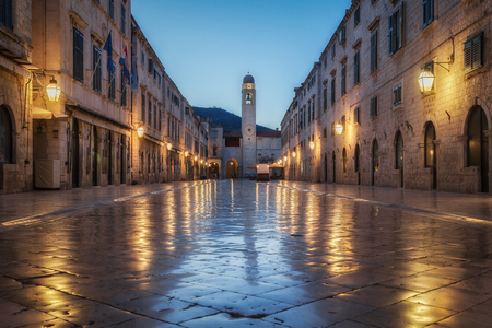Classic panoramic view of famous Stradun, the main street of the old town of Dubrovnik, in beautiful morning twilight before sunrise at dawn in summer, Dalmatia, Croatia Reklamní fotografie