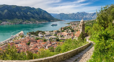 Classic panorama view of the historic Church of Our Lady of Remedy overlooking the old town of Kotor