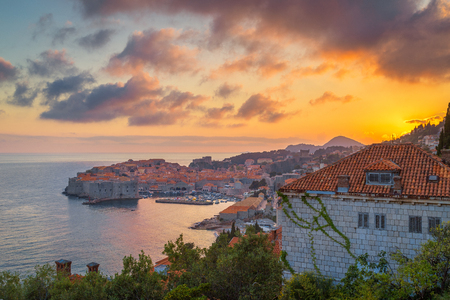 Panoramic aerial view of the historic town of Dubrovnik
