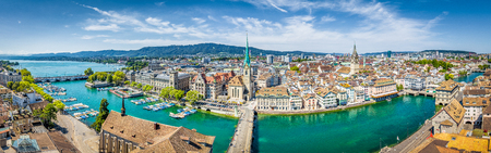 Aerial panoramic view of Zurich city center with famous Fraumunster Church and river Limmat at Lake Zurich from Grossmunster Church, Canton of Zurich, Switzerland
