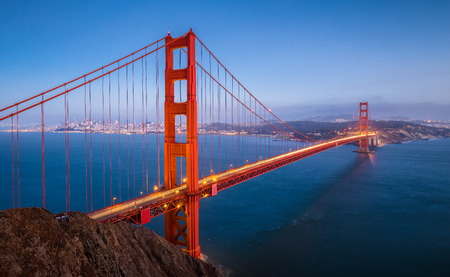 Classic panoramic view of famous Golden Gate Bridge seen from Battery Spencer viewpoint