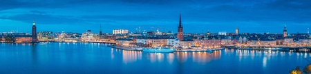 Panoramic view of famous Stockholm city center with historic Riddarholmen in Gamla Stan old town
