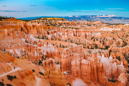 Classic view of Bryce Canyon National Park in beautiful golden evening light