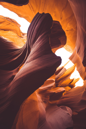 Beautiful wide angle view of amazing sandstone formations in famous Antelope Canyon