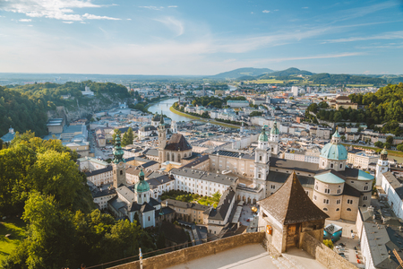 Aerial view of the historic city of Salzburg from Hohensalzburg Fortress
