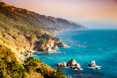 Scenic view of the rugged coastline of Big Sur with Santa Lucia Mountains
