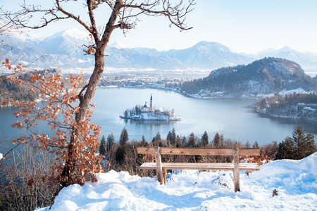 Beautiful view of wooden bench overlooking famous Lake Bled with Bled Island and Julian Alps