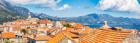 Beautiful view of the historic town of Korcula on a beautiful sunny day 写真素材