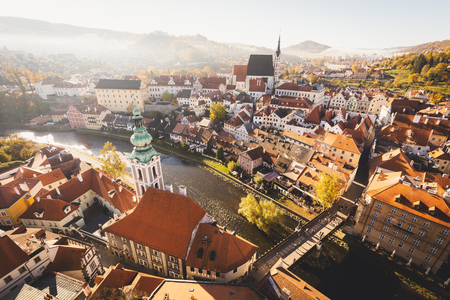 Aerial view of the historic city of Cesky Krumlov with famous Cesky Krumlov Castle 스톡 콘텐츠 - 113997785