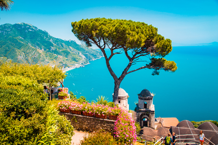 Scenic panoramic view of famous Amalfi Coast with Gulf of Salerno from Villa Rufolo gardens in Ravello, Campania, Italy 免版税图像 - 113997788
