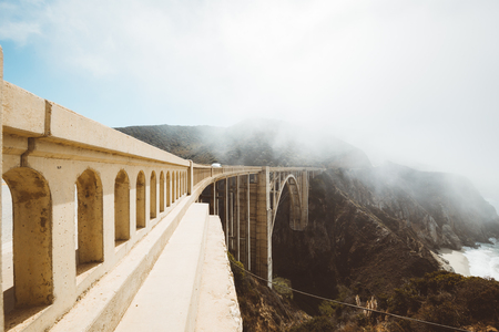 Panoramic view of historic Bixby Creek Bridge along world famous Highway 1 on a sunny day