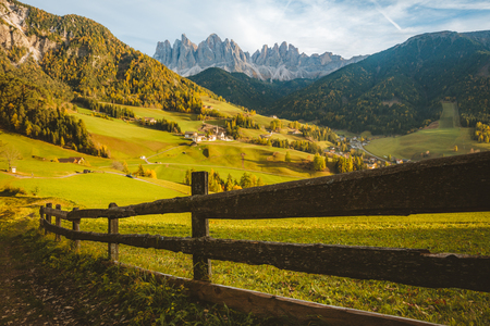 Beautiful view of idyllic mountain scenery in the Dolomites with famous Santa Maddelana mountain village Stock Photo