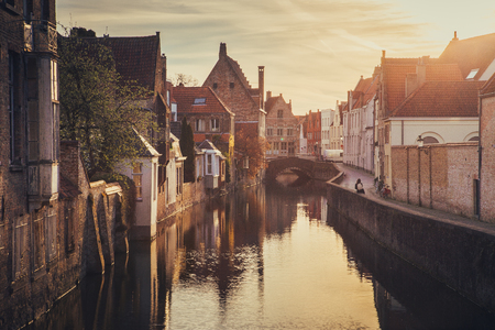 Classic postcard view of the historic city center of Brugge, often referred to as The Venice of the North 写真素材
