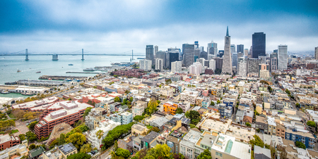 Classic aerial view of modern San Francisco skyline in summer
