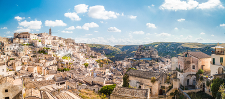 Panoramic view of the ancient town of Matera (Sassi di Matera) on a sunny day