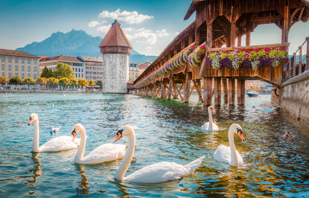 Historic city center of Lucerne with famous Chapel Bridge, the city's symbol and one of the Switzerland's main tourist attractions