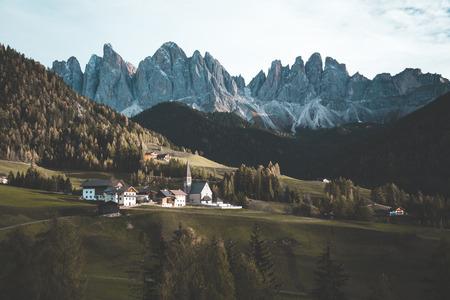 Beautiful view of idyllic mountain scenery in the Dolomites with famous Santa Maddelana mountain village Stock Photo