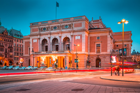 Beautiful view of famous Royal Swedish Opera (Kungliga Operan) in central Stockholm illuminated at twilight, Sweden, Scandinavia