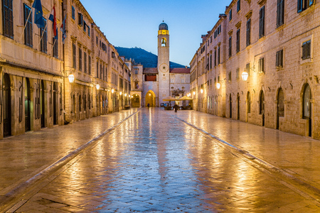 Classic panoramic view of famous Stradun, the main street of the old town of Dubrovnik