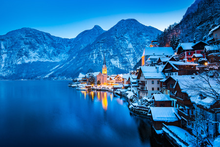 Classic postcard view of famous Hallstatt lakeside town in the Alps