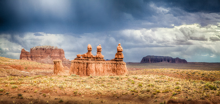 Panoramic view of stunning Hoodoos sandstone formations in famous Goblin Valley State Park on a beautiful sunny day