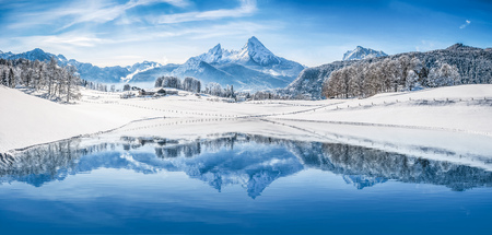 Panoramic view of beautiful white winter wonderland scenery