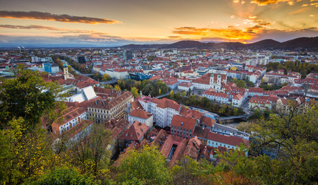 Panoramic aerial view of the old town of Graz from Grazer Schlossberg (castle hill) Stock Photo
