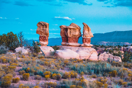 Amazing Four Hoodoos sandstone formations in Devils Garden in beautiful evening light