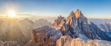 Beautiful view of famous Tre Cime di Lavaredo mountain summits in the Dolomites mountain range