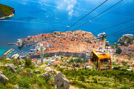 Aerial panoramic view of the old town of Dubrovnik with famous Cable Car on Srd mountain on a sunny day