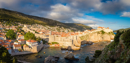 Beautiful panorama view of the historic town of Dubrovnik in beautiful golden evening 写真素材