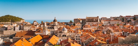Classic panoramic view of the historic town of Dubrovnik, one of the most famous tourist destinations in the Mediterranean Sea