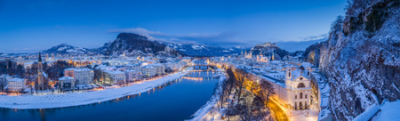 Classic panoramic twilight view over the historic city of Salzburg Stock Photo
