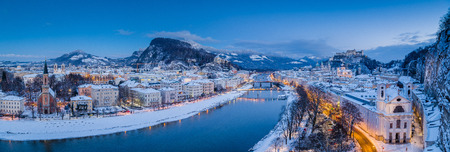 Classic panoramic twilight view over the historic city of Salzburg with famous Hohensalzburg Fortress Stock Photo