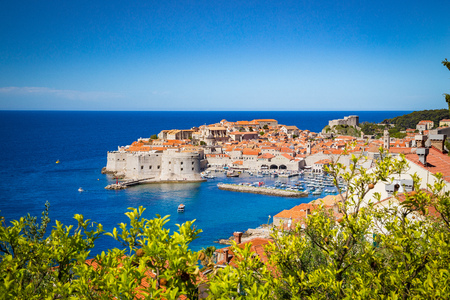 Panoramic aerial view of the historic town of Dubrovnik, one of the most famous tourist destinations in the Mediterranean Sea Stok Fotoğraf