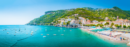 Scenic panoramic view of the beautiful town of Amalfi at famous Amalfi Coast with Gulf of Salerno in summer, Campania, Italy Stok Fotoğraf