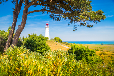 Classic view of famous Lighthouse Dornbusch on the beautiful island Hiddensee with blooming flowers in summer, Baltic Sea, Mecklenburg-Vorpommern, Germany Stock Photo