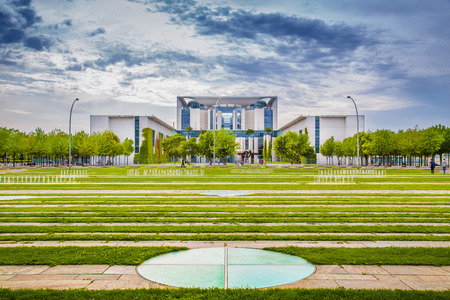 Panoramic view of Bundeskanzleramt (German Federal Chancellery), main seat and office of Chancellor Angela Merkel and the Chancellery staff, with dramatic clouds in summer, central Berlin, Germany