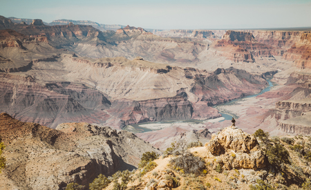 A male hiker is standing on a cliff taking in the amazing view over famous Grand Canyon National Park with Colorado river flowing on a beautiful sunny day in summer, American Southwest, USA
