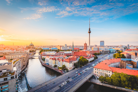 Classic view of Berlin skyline with famous TV tower and Spree in beautiful golden evening light at sunset, central Berlin Mitte, Germany 写真素材